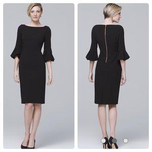 WHBM BODY PERFECTING LANTERN-SLEEVE BLACK DRESS